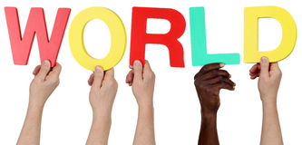 Multi ethnic group of people holding the word world Royalty Free Stock Photography