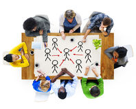 Multi-Ethnic Group of People and Leadership Concepts.  royalty free stock photos
