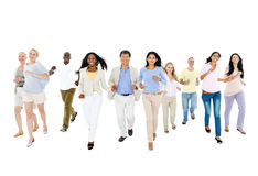 Multi-ethnic group of people moving together.  Stock Images