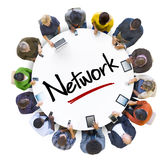 Multi-Ethnic Group of People and Network Concept Stock Images