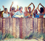Multi-Ethnic Group of People Partying Outdoors.  royalty free stock photos