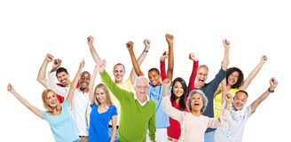 Multi-Ethnic Group People Raising Arms Expressing Stock Image