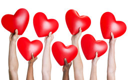Multi-ethnic group of people's hand holding heart Royalty Free Stock Photography