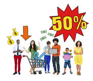 Multi-Ethnic Group Of People and Sale Concepts Royalty Free Stock Photos