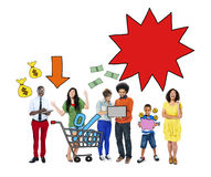 Multi-Ethnic Group Of People and Sale Concepts Stock Photo