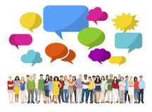Multi-Ethnic Group of People and Speech Bubble Royalty Free Stock Images