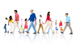Multi-ethnic group people walking Concept Stock Images