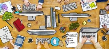 Multi-Ethnic Group of People Working stock illustration
