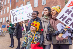 Protest against Donald Trump by multicultural women in Copenhagen royalty free stock photography