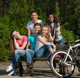 Multi ethnic group of sporty friends Royalty Free Stock Photos