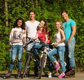 Multi ethnic group of sporty friends Stock Photos