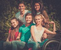 Multi ethnic group of sporty teenage in a park Royalty Free Stock Photos