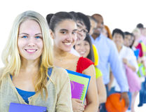Multi-ethnic group student standing line Concept.  Stock Photos