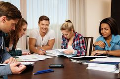 Multi ethnic group of students preparing for exams Stock Photography