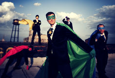 Multi-ethnic  Group of Superhero Businessmen Royalty Free Stock Images