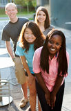 Multi-ethnic group of teenagers. Outside smiling Royalty Free Stock Photos
