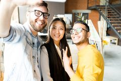 Multi-Ethnic Young People Taking Selfie royalty free stock photography