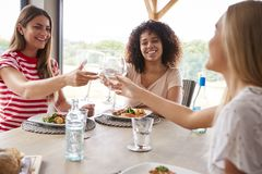 Multi ethnic group of three young adult women making a toast,celebrating with wine glasses during a dinner party stock photo