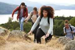 A multi ethnic group of young adult young adult friends smiling while climbing to a mountain summit, close up stock photo