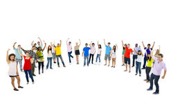 Multi-ethnic group young people standing curve Concept Royalty Free Stock Photo