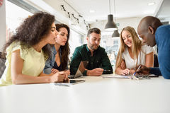 Multi-ethnic group of young people studying together on white de stock photography