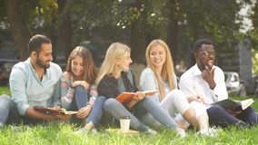 Mixed-race group of students sitting together on green lawn of university campus