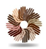 Multi-ethnic hands in a circle vector icon royalty free illustration