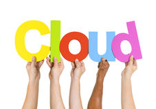Multi-Ethnic Hands Holding Cloud Stock Image