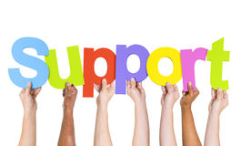 Multi-Ethnic Hands Holding The Word Support. Multi-Ethnic Group Of People's Arms Raised Holding Letters That Form Support royalty free stock photography