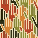 Multi-Ethnic hands seamless pattern stock illustration