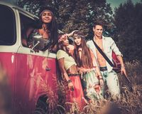 Multi-ethnic hippie friends Royalty Free Stock Images