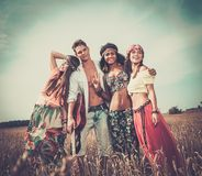 Multi-ethnic hippie friends on a road trip Stock Photography