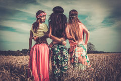 Multi-ethnic hippie girls in a wheat field.  Royalty Free Stock Photos