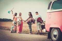 Multi-ethnic hippie travellers Stock Image
