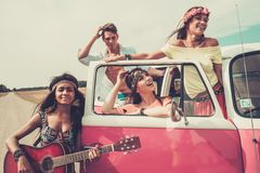Multi-ethnic hippie travellers Royalty Free Stock Photo