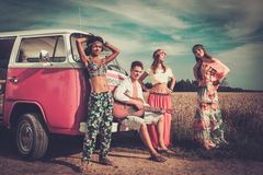 Multi-ethnic hippie travellers Stock Photography