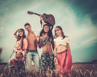 Multi-ethnic hippie travellers Stock Images
