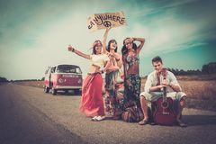 Multi-ethnic hippie travellers Royalty Free Stock Photography