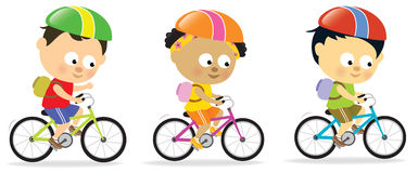 Multi-ethnic kids biking 2 vector illustration