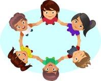 Multi-ethnic Kids Holding Hands. A vector illustration of multi-ethnic group of children holding hands stock illustration