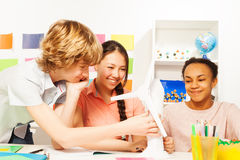 Multi ethnic kids learning about renewable energy Royalty Free Stock Photography
