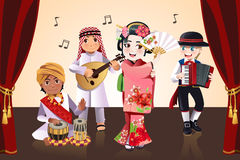 Multi-ethnic kids performing. A vector illustration of kids from different ethnics performing in a stage Stock Images