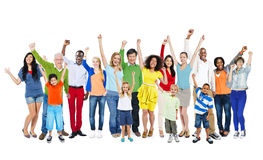 Multi-Ethnic People Arms Raised Royalty Free Stock Photo