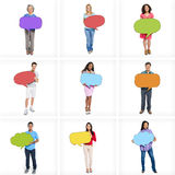 Multi-Ethnic People with Empty Speech Bubbles Stock Images