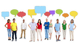 Multi-Ethnic of People with Empty Speech Bubbles Stock Photo