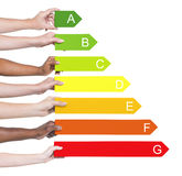 Multi-ethnic people holding graph royalty free stock photos