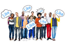 Multi-Ethnic People Holding Speech Bubbles Royalty Free Stock Photos