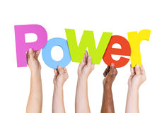 Multi Ethnic People Holding The Word Power.  Royalty Free Stock Photos