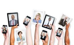 Multi-Ethnic People and Social Media Concepts Stock Photography