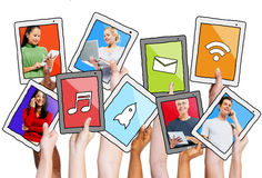 Multi-Ethnic People and Social Networking Concepts. Multi-Ethnic Group of People and Social Networking Concepts Stock Photo